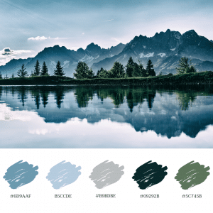 Colour palette cool nature lake mountains trees